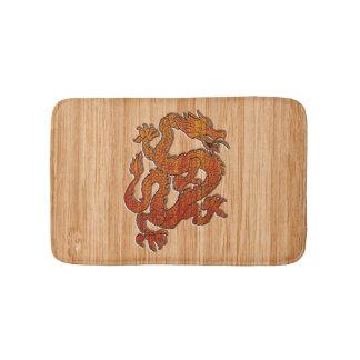 An oriental Dragon in Bamboo Bath Mat