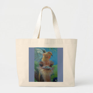 An Ostrich and His Dove Large Tote Bag
