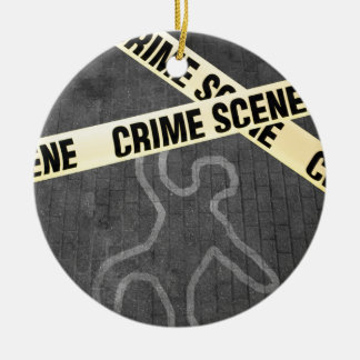 An outline of a person on a street. Murder? Suicid Ceramic Ornament