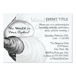 "An oyster shell with the saying ""the world is your 13 cm x 18 cm invitation card"