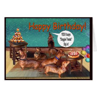 An unplanned Dachshund Birthday Party Card