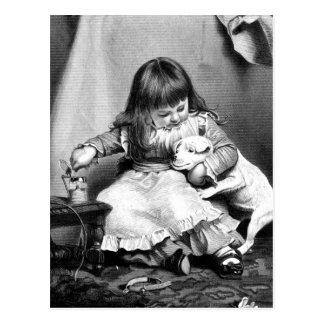 """""""An Unwilling Patient"""" Vintage Illustration Postcard"""