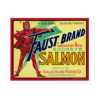 Anacortes, Washington - Faust Salmon Case Label Postcard