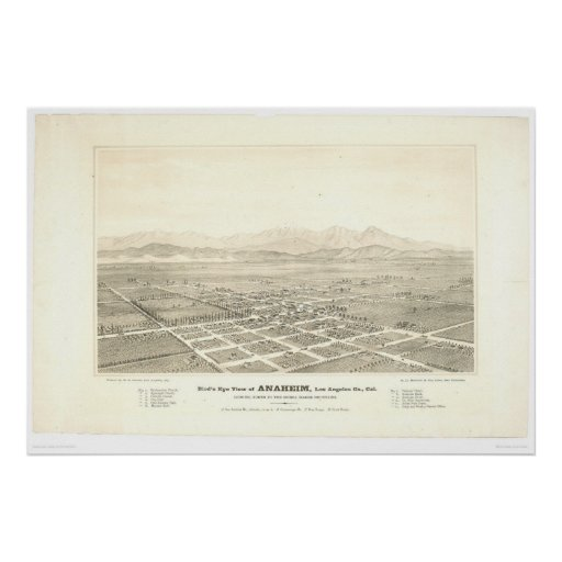 Anaheim, CA. Panoramic Map (0025A) - Unrestored Posters