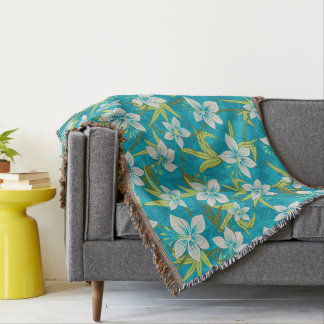 Anaina Hou Hawaiian Tropical Floral Throw Blanket
