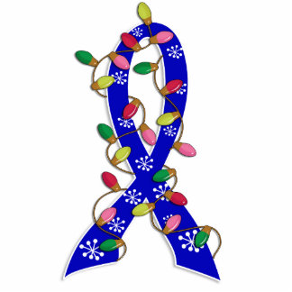 Anal Cancer Christmas Lights Ribbon Standing Photo Sculpture