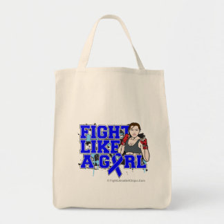 Anal Cancer Fighter - Fights Like a Girl Grocery Tote Bag