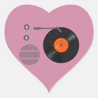 Analog record player heart sticker