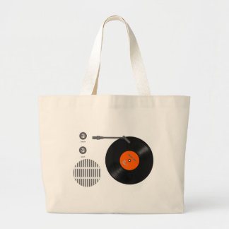 Analog record player large tote bag