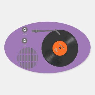 Analog record player oval sticker
