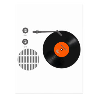Analog record player postcard