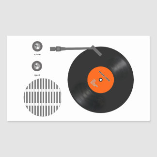 Analog record player rectangular sticker