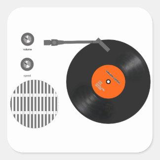 Analog record player square sticker