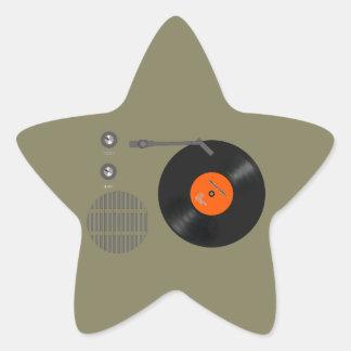 Analog record player star sticker