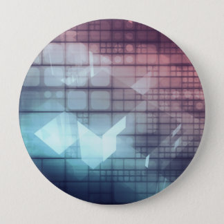Analytics Technology with Data Moving 10 Cm Round Badge