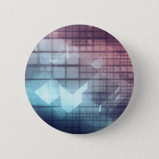 Analytics Technology with Data Moving 6 Cm Round Badge