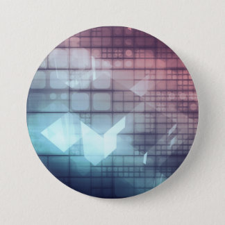 Analytics Technology with Data Moving 7.5 Cm Round Badge