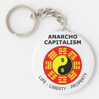 Anarcho Capitalism - Life, Liberty, Property Basic Round Button Key Ring
