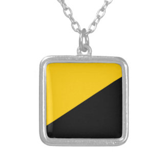 Anarcho Capitalist Black and Yellow Square Pendant Necklace