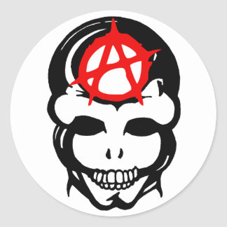 Anarchy Skull 3 Classic Round Sticker
