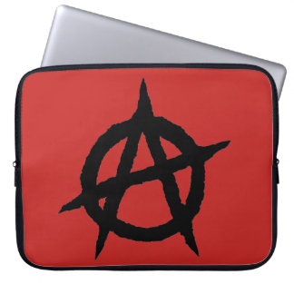 Anarchy symbol black punk music culture sign chaos laptop sleeve