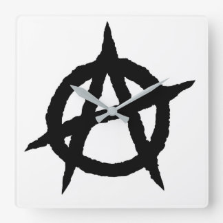 Anarchy symbol black punk music culture sign chaos square wall clock