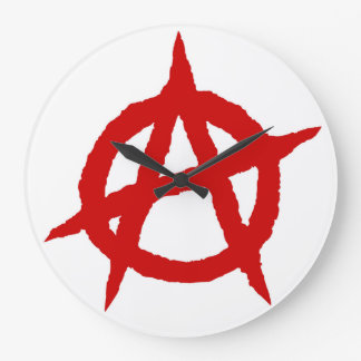 Anarchy symbol red punk music culture sign chaos p large clock