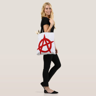 Anarchy symbol red punk music culture sign chaos p tote bag