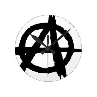 Anarchy Symbol Round Clock