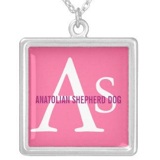 Anatolian Shepherd Dog Breed Monogram Square Pendant Necklace