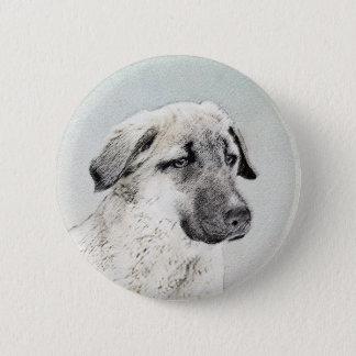 Anatolian Shepherd Painting - Original Dog Art 6 Cm Round Badge