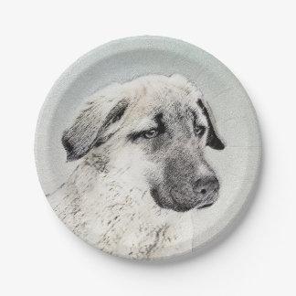 Anatolian Shepherd Painting - Original Dog Art Paper Plate