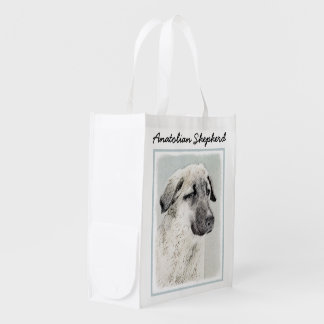 Anatolian Shepherd Painting - Original Dog Art Reusable Grocery Bag