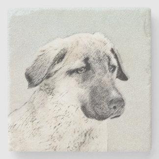 Anatolian Shepherd Painting - Original Dog Art Stone Coaster