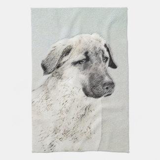 Anatolian Shepherd Painting - Original Dog Art Tea Towel