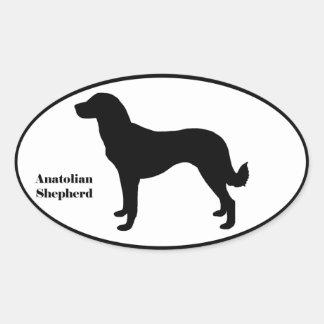 Anatolian Shepherd SIlhouette Oval Sticker
