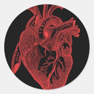 Anatomical Black Heart Round Sticker