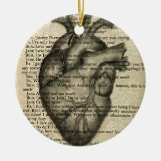 anatomical heart ceramic ornament