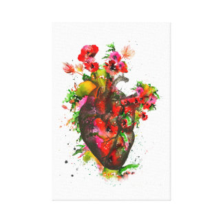 Anatomical heart with flowers, floral heart canvas print
