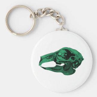 Anatomical Rabbit Skull Green Keychains