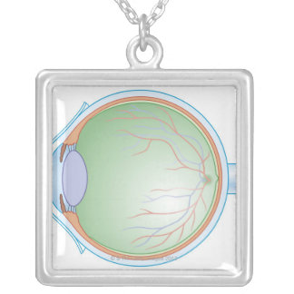 Anatomy of the Human Eye Square Pendant Necklace