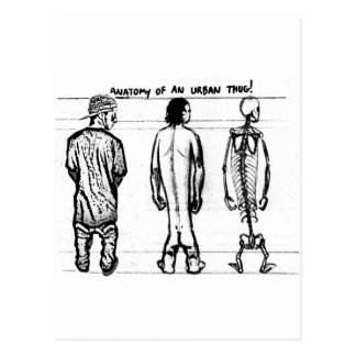 Anatomy of urban thug postcard