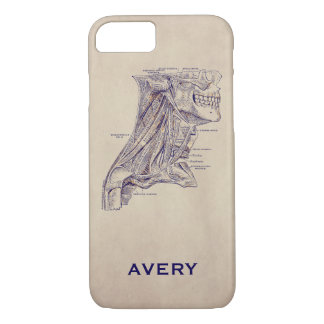 Anatomy Vintage Neck Muscles Old Paper Texture iPhone 7 Case