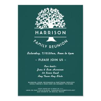 Ancestry Tree Blue Green Family Reunion Invitation