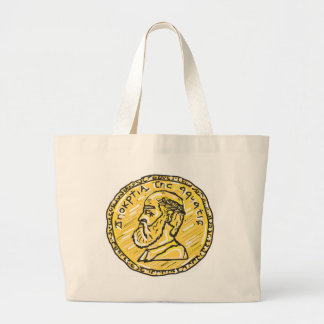 Anchient Coin Sketch Large Tote Bag