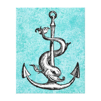 Anchor and Dolphin - Festina Lente Canvas Print