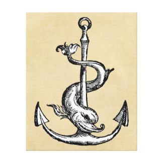 Anchor and Dolphin - Festina Lente Canvas Print
