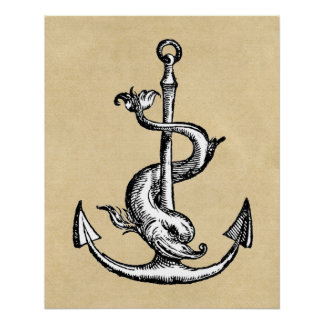 Anchor and Dolphin - Festina Lente Poster