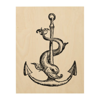 Anchor and Dolphin - Festina Lente Wood Wall Art
