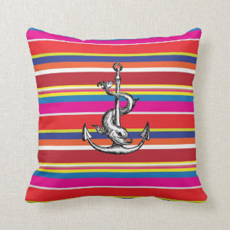 Anchor and Dolphin Over Stripes Cushion